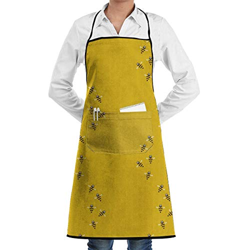 Bee Honeycomb Yellow Professional Grade Chef Kitchen Apron for Cooking BBQ and Grill †Men Women Design with 2 Pockets
