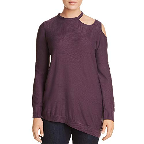 Love Scarlett Women's Plus Size Long Sleeve Pullover Asymmetrical Cold Shoulder & Hem, Purple Haze, 1X ()