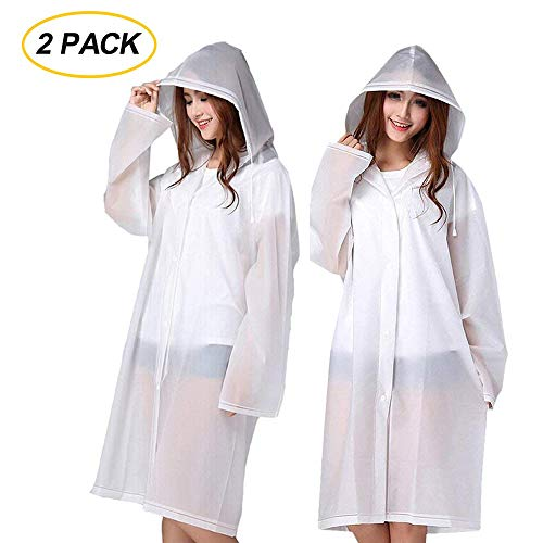 Rain Ponchos 2 Packs for Adults with Drawstring Hood and Sleeves - Emergency Rain Coat for Theme Park, Hiking, Camping or Traveling
