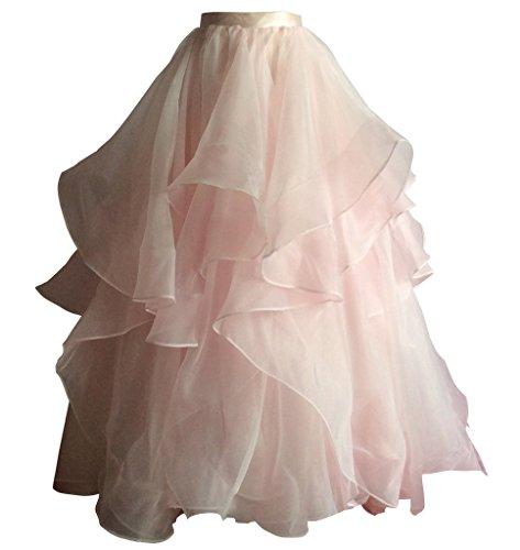 flowerry Women Blush Organza Long Length Short Train Skirt Wedding Prom Bridesmaid Skirt XS by flowerry