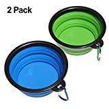 Collapsible Travel Dog Bowl Food Grade Silicone BPA Free FDA Approved, Feeder Bowl Portable Bowl for Dogs Cats (2pcs)