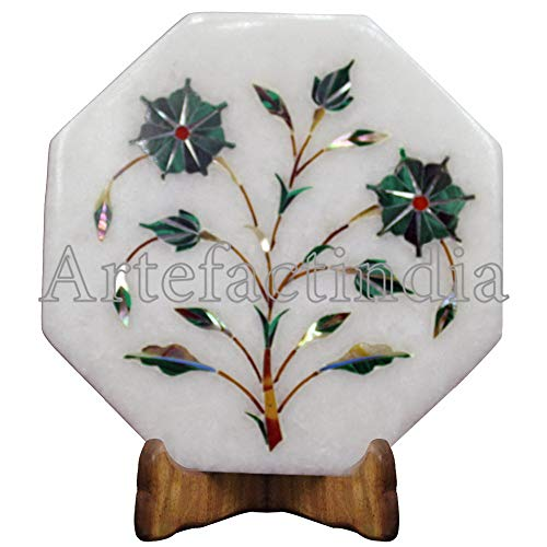 Artefactindia Border Tiles Black Onyx,Turquoise Gemstone Inlaid White Marble Wall Tiles 4