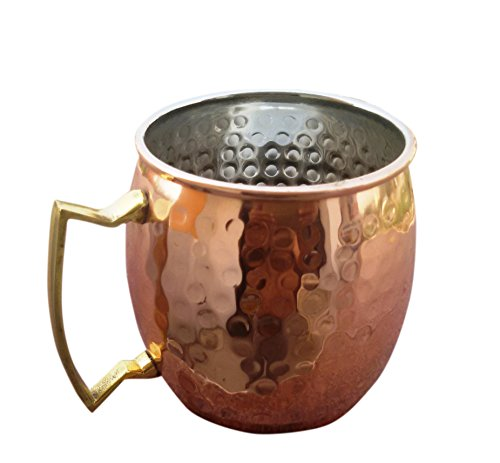 STREET CRAFT 100% Authentic Copper Moscow Mule Mug with Copper Moscow Mule Mugs Cups Pack of 1 Capacity 16 Oz Hammered Nickel Brass Handle