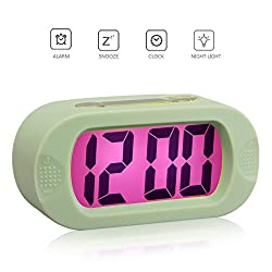 KAEG COLORFUL LIGHT DIGITAL ALARM CLOCK WITH SNOOZE, SIMPLE SETTING, PROGRESSIVE ALARM, BATTERY OPERATED, SHOCKPROOF, THE IDEAL GIFT CLOCK FOR KIDS & CONVENIENT FOR TRAVEL (JADE-GREEN)