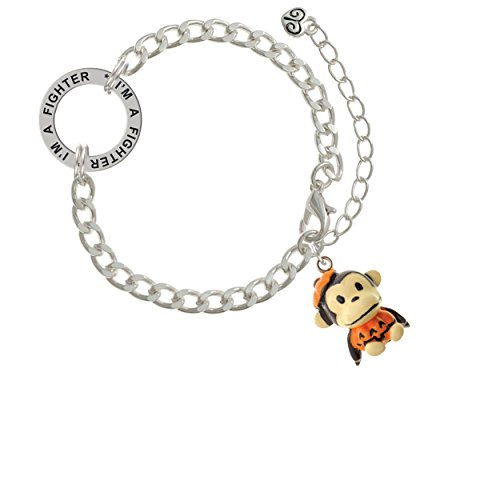 Resin Monkey in Pumpkin Costume I'm A Fighter Affirmation Link Bracelet