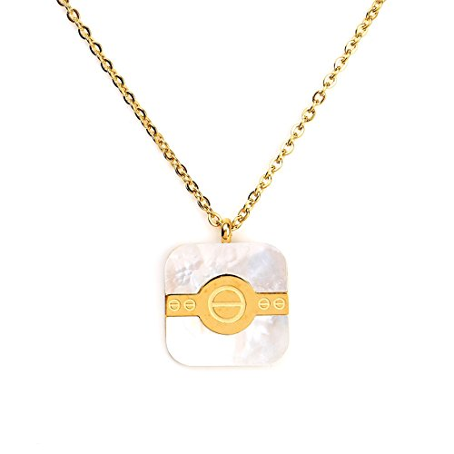 United Elegance Stylish Gold Tone Square Geometric Pendant with Contemporary Screw Design and Faux Mother-of-Pearl Inlay ()