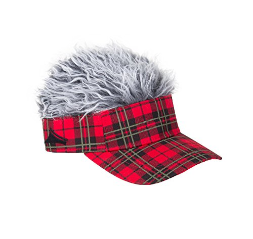 Tarten Red Plaid Grey Flair Hair Visor Hat -