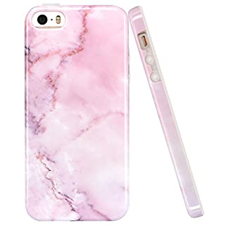 8a34bbb74 iPhone 5 Cases,iPhone 5S Case,LUOLNH Baby Pink Marble Design Slim  Shockproof Flexible Soft Silicone Rubber TPU Bumper Cover Skin Case for  iPhone SE 5/5S