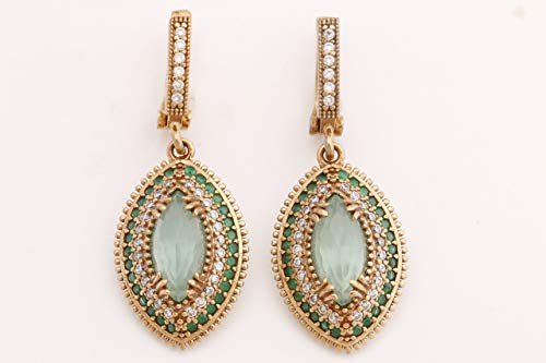 Turkish Handmade Jewelry Marquise Shape Aquamarine and Round Cut Emerald Topaz 925 Sterling Silver Dangle/Drop Earrings (Round Earrings Marquise)