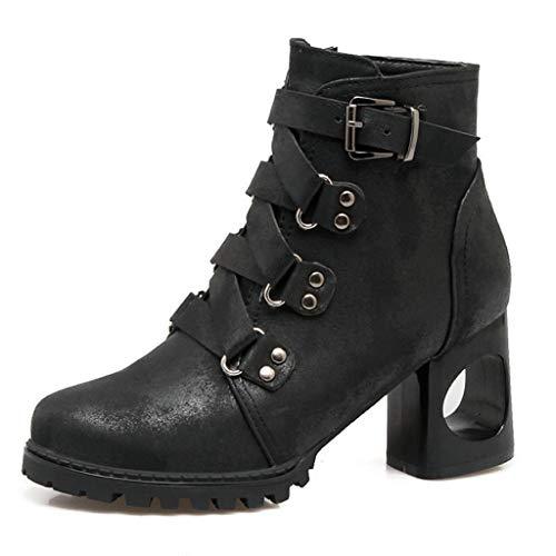 ANJUNIE Women High Heels Bootie Ladies Autumn Shoes Solid Single Shoes Short Boots