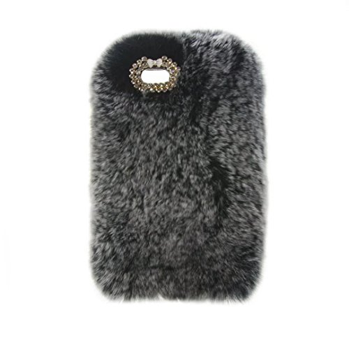 iPod Touch 5 6 Case, QKKE Cute Luxury Winter Soft Warm Faux Rabbit Fur Fuzzy Plush with Crystal Cute Bowknot Protective Back Cover for Touch 5 and Touch 6 (Grey)