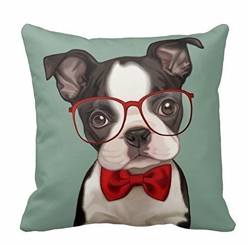 YOUHOME Hipster Boston Terrier Polyester Pillow Case Square 18 x 18 Inches