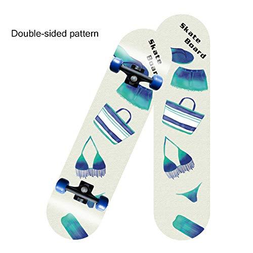 SKATEWANG Standard Skateboards,31 Inch Longboard Double Kick Skate Board Cruiserfour-Wheel Maple Deck Brush Street Long…