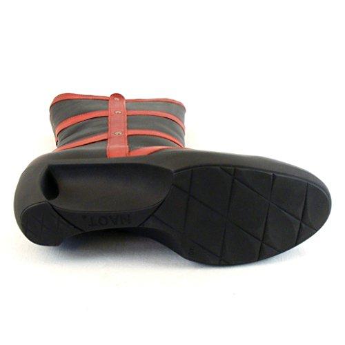 Naot Damen Schuhe Stiefel Moon Leder schwarz/rot 9496 Fußbett Reißverschluss