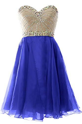 MACloth 2016 Women Strapless Chiffon Short Prom Dress Wedding Party Formal Gown Azul Real