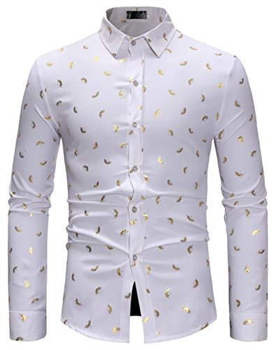 - HOP Fashion Mens Folding Fan Print Shirt Luxury Gold Design Long Sleeve Slim Fit Button Down Shirts HOPM306-White-S