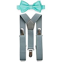Light Grey Suspenders Bow Tie Set for Baby Toddler Boy Teen Men (3. Boy (7-12 yrs), Light Grey Suspenders, Aqua Bow Tie)