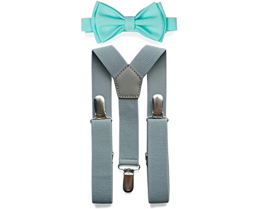 Light Grey Suspenders Bow Tie Set for Baby Toddler Boy Teen Men (5. Adult (5'8