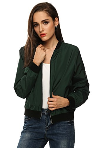 Bomber Nylon Jacket Quilted (Zeagoo Womens Classic Quilted Jacket Short Bomber Jacket Coat,Green,Small)