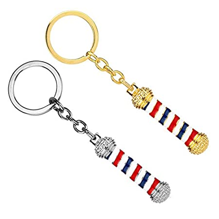 Ruikey 1 Pcs Creative Keychains Barber Turn Lights Tool Barbershop Sign Hanging Ornament Keyring Key Chains for Friends