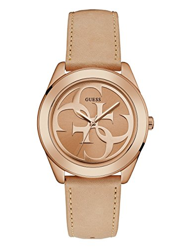 GUESS Women's Quartz Stainless Steel and Leather Casual WatchColor Tan/Rose Gold-Toned (Model: - Guess Wrist Watch