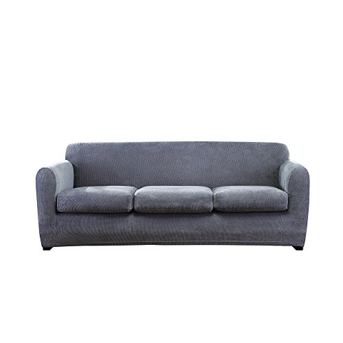 Sure Fit Ultimate Stretch Chenille Slipcover 3-Seat Box Cushion Sofa - Grey ()