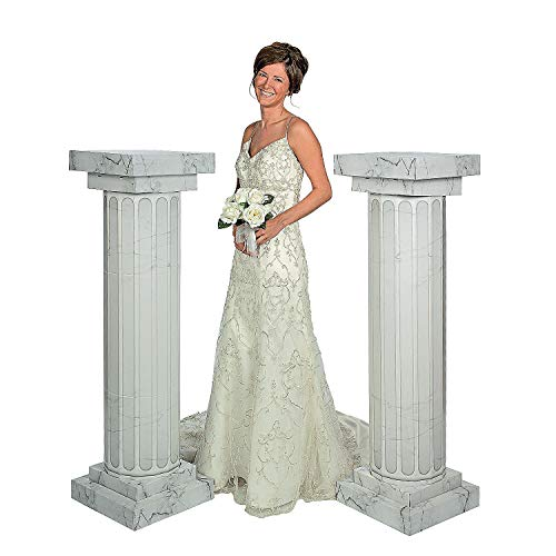 Fun Express - Cardboard Marble-Look Fluted Pillars 4.5' Tall - Large Party Decor - Wedding, Prom, Formal Dances - 3D Stand Up - 2 Pieces