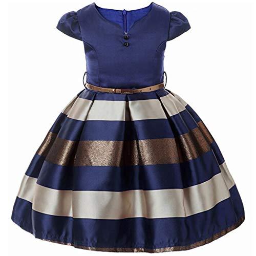 Baby Girls Flower Striped Dress for Girls Formal Wedding Party Dresses Kids Princess Christmas Dress Children Girls,Navy1,5