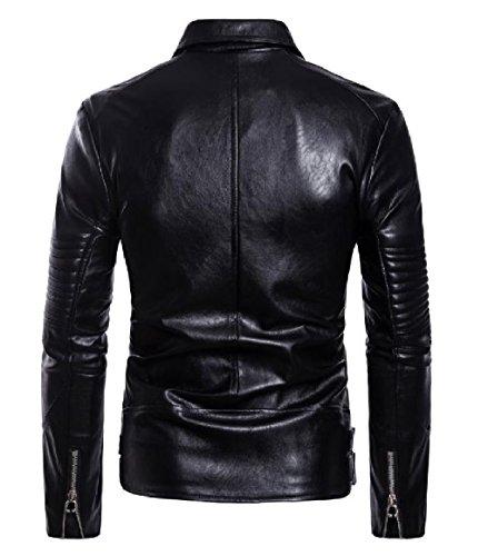 Faux Mens Black Lapel Draped PU Leather Jackets Motorcycle Premium RkBaoye Zipper Xfn7RRx