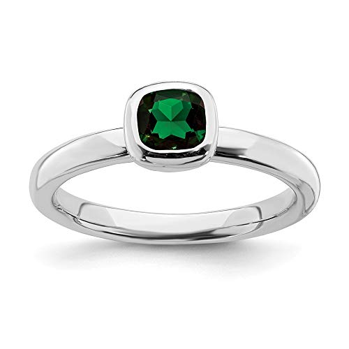 (925 Sterling Silver Cushion Cut Created Green Emerald Band Ring Size 5.00 Stone Stackable Gemstone Birthstone May Fine Jewelry Gifts For Women For Her)