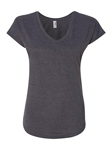 Anvil Ladies' Tri-Blend V-Neck T-Shirt, Hthr Dark Grey, Large