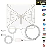 INKERSCOOP 4K 1080P Digital HDTV Antennas Transparent Design 60-85 Miles Indoor TV Antenna Amplifier Signal Booster 12ft Coax Cable 2018 Upgraded