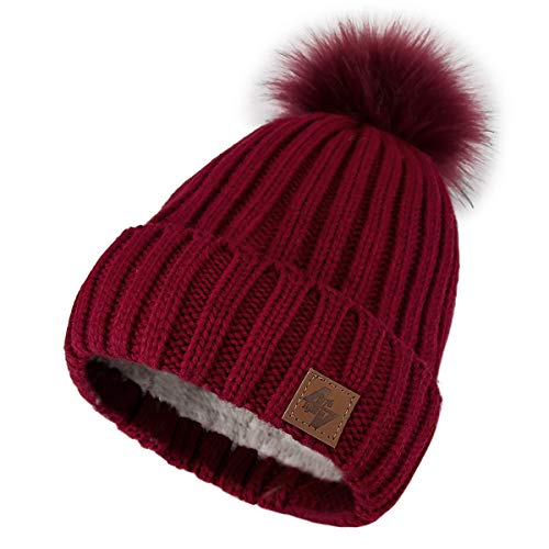 all'ingrosso Liner Lady Men 4sold maglia Size donna Color Fleece Beanie Circle Winter Berretti Comfort a Gold Pompon per One e lavorata Maroon Pursed 1q7A57x