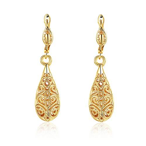 Kshcf Vintage Earrings Dangle Teardrop Ear Buckle Earrings Charm Fashion 18K White/Gold Plated Palace Openwork Pattern Jewelry Accessories