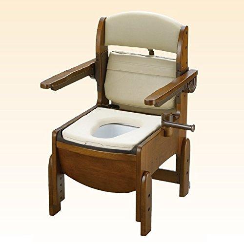 リッチェル 木製トイレ きらく コンパクト 肘掛跳ね上げ やわらか便座 B00ICFEN1M