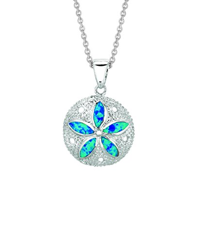 Ritastephens Sterling Silver Sand Dollar Sea Life Charm Necklace Lab Created Opal 18 Inches