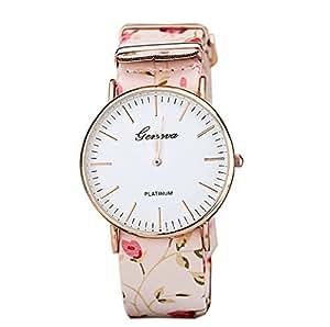 Coromose? Women Multi-color Flowers Series Watches; Quartz Watch(Pink)