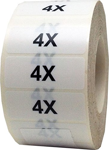 "1.25 x 5"" Apparel 4X Wrap Around Size Strip Labels for Folded Retail Clothing 