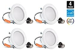 4-Inch Hyperikon LED Downlight, ENERGY STAR, 9W (65W Equivalent), 4000K (Daylight Glow), CRI93+, Dimmable, Retrofit LED Recessed Lighting Kit Fixture, Wet Rated and UL Listed - (Pack of 4)