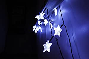 LED Star Lights String - Large White Star Shaped Covers - Solar Energy Battery Operated - Light up Holiday Christmas Tree and Outdoor - Twinkle Hanging Rope Lighting - With Garden Stake for Walkway and Patio