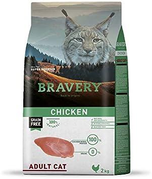BRAVERY PIENSO para Gatos Adulto Pollo 2 KG Grain Free ...