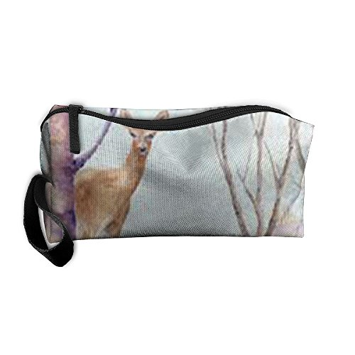 Winter Wildlife Watercolor Clip Art Pattern Makeup Bag Calico Girl Women Travel Portable Cosmetic Bag Sewing Kit Stationery Bags Fashion Storage Pouch Bag Multi-function Bag