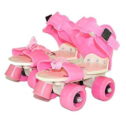 Bambini due linee pattini a doppia fila 4Wheel Skating Shoes free size scorrevole Inline rosa rosa Pink tofree