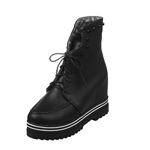 Black Womens Platform Imitated Inside Boots Heighten Bandage Leather AdeeSu 8zCqdwUOw