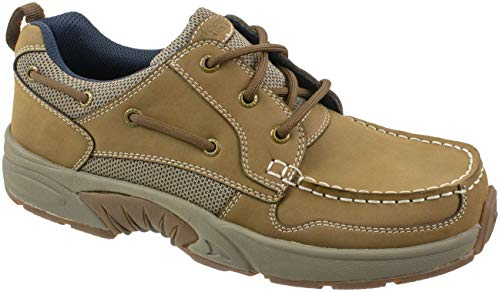 (Rugged Shark Men's Boat Shoe,Premium Leather and Comfort, Axis, Size 8 to 13,Tan, Men's Size 9.5)