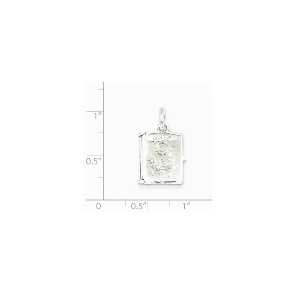 0.83 in x 0.59 in Sterling Silver Passport Charm Pendant