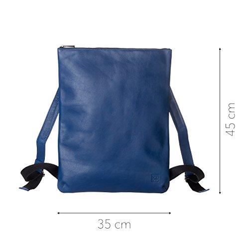 DUDU Mochilas Hombre Mujer Elegante de Verdadera Piel suave con Cremallera Zip Azul