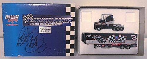 Race Sr Dale Earnhardt (Dale Earnhardt Sr. REAL hand SIGNED 1:96 Action Race Car Transporter 1/3000 COA)