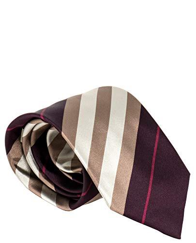 (Burberry London Mens Necktie Classic Diagonal Stripe Pattern Wide Cut Silk Tie (Diagonal Purple/Tan/Bronze))