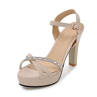 Sandalias Primavera Verano Otoño Zapatos Club PU Oficina & Carrera parte & traje de noche Chunky talón Almendra Blanco Rosa negro Hebilla Almond
